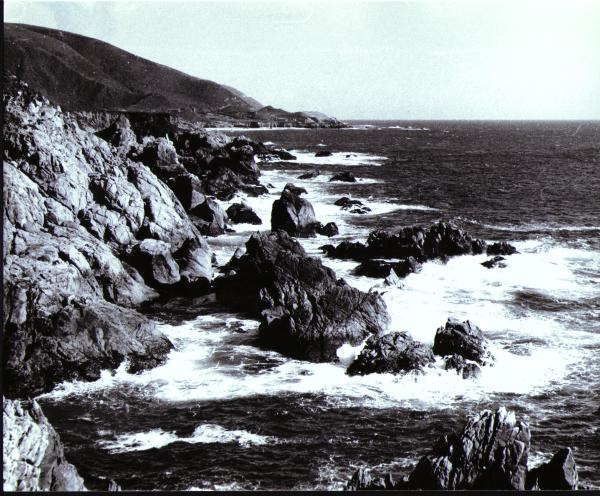 Picture of the Pacific Coast heading south from Monterey toward Big Sur, California, Copy Righted 1970 &copy Bruce Perdue, All rights reserved